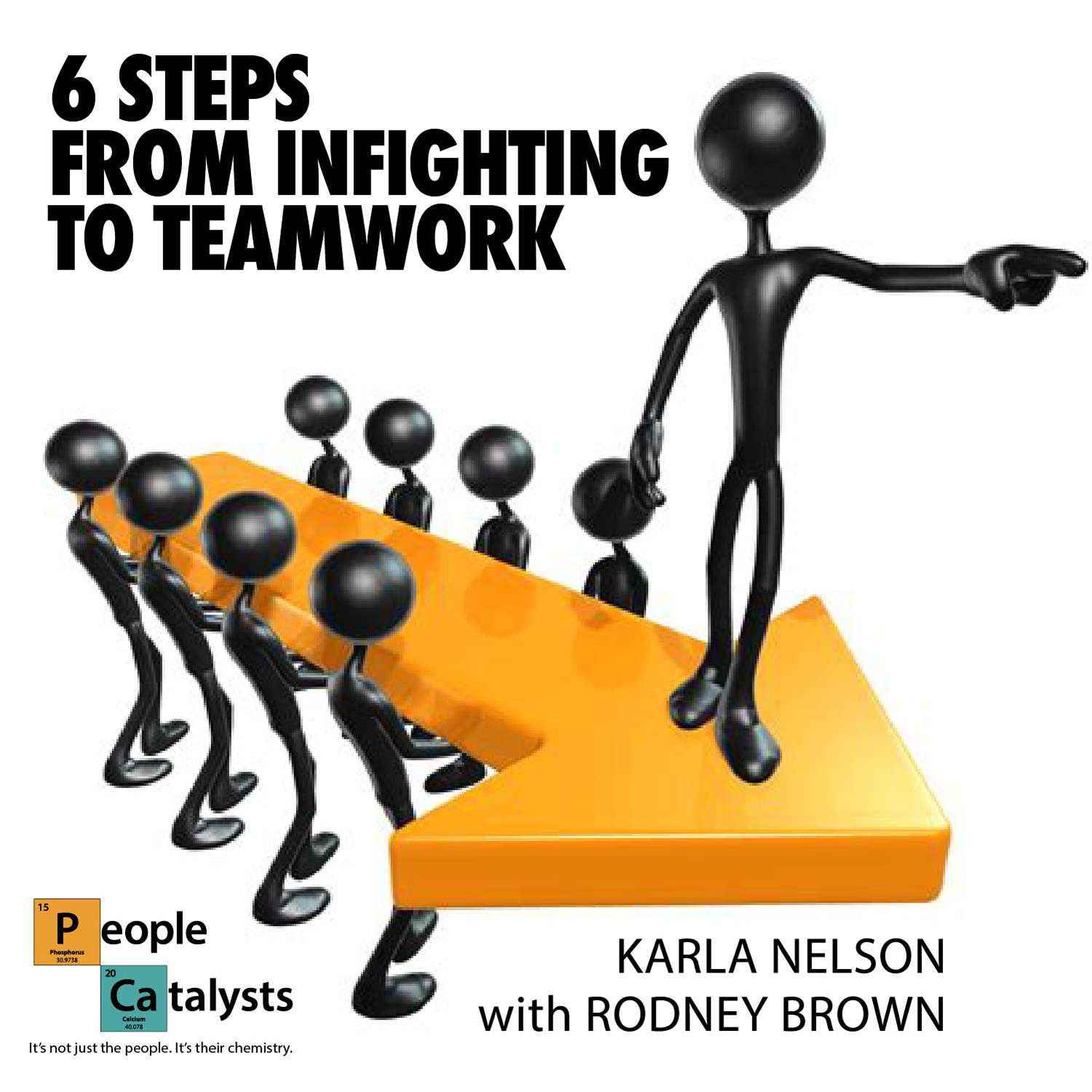 Text: 6 Steps from Infighting To Teamwork; Image of team supporting a leader on an arrow Text: Karla Nelson with Rodney Brown
