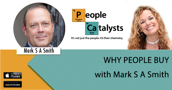Graphic: Title: WHY PEOPLE BUY with photo of Mark S A Smith